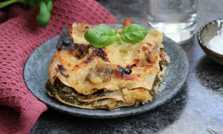 Vegetarisk lasagne med spenat recept